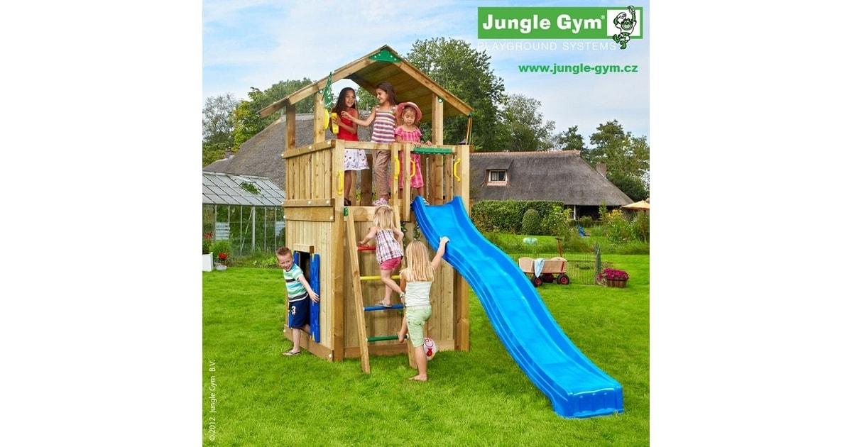 d tsk h i t jungle chalet kompletn sestava v etn skluzavky jungle gym d tsk h i t. Black Bedroom Furniture Sets. Home Design Ideas