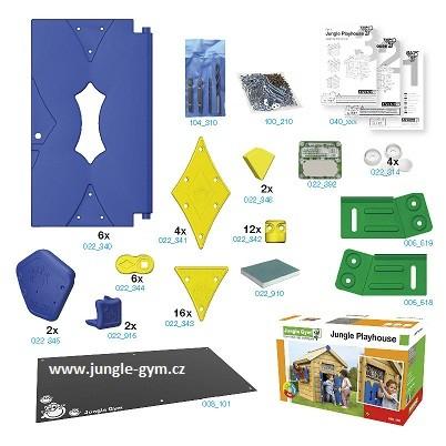 Jungle Playhouse s terasou XL a skluzavkou - kompletní sestava