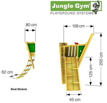 Hřiště Jungle Mansion s lodním modulem Boat - kompletní sestava včetně skluzavky