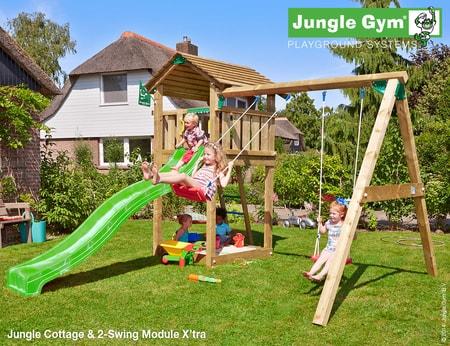 Dětské hřiště Jungle Cottage - kompletní sestava včetně skluzavky