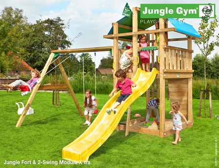 Dětské hřiště Jungle Fort - kompletní sestava včetně skluzavky