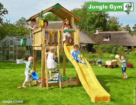 Dětské hřiště Jungle Chalet - kompletní sestava včetně skluzavky