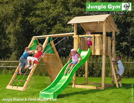Dětské hřiště Jungle Shelter - kompletní sestava včetně skluzavky