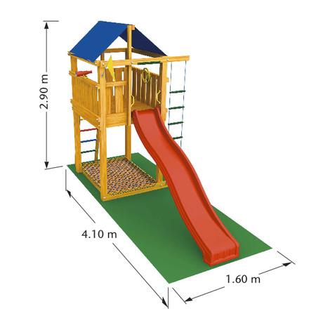 Dětské hřiště Jungle Lodge - kompletní sestava včetně skluzavky