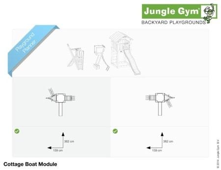 Hřiště Jungle Cottage s modulem Boat - kompletní sestava včetně skluzavky