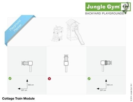 Hřiště Jungle Cottage s modulem Train - kompletní sestava včetně skluzavky