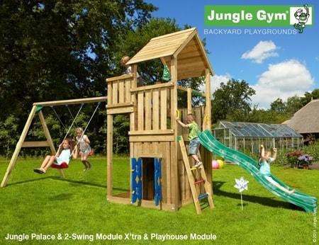 Hřiště Jungle Palace s domečkem Playhouse a houpačkami 2-Swing Module - kompletní sestava včetně skluzavky