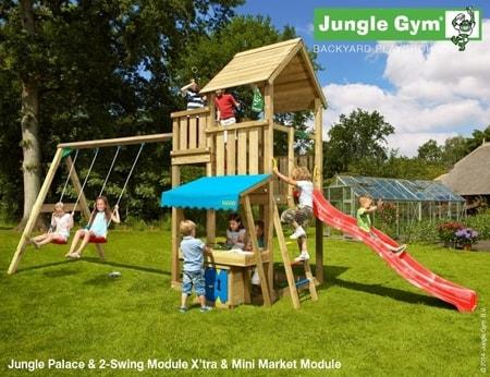 Hřiště Jungle Palace s modulem MiniMarket a houpačkami 2-Swing Module - kompletní sestava včetně skluzavky