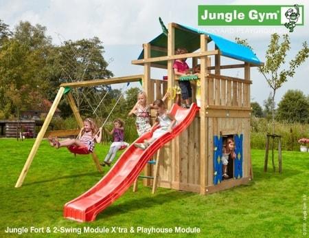 Hřiště Jungle Fort s domečkem Playhouse a houpačkami 2-Swing Module - kompletní sestava včetně skluzavky