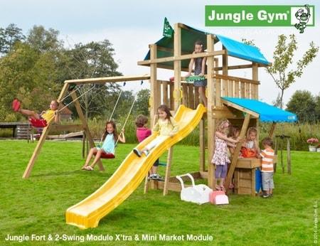 Hřiště Jungle Fort s modulem MiniMarket a houpačkami 2-Swing Module - kompletní sestava včetně skluzavky