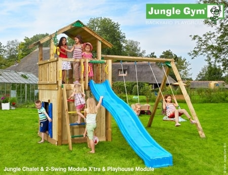 Hřiště Jungle Chalet s domečkem Playhouse a houpačkami 2-Swing Module - kompletní sestava včetně skluzavky