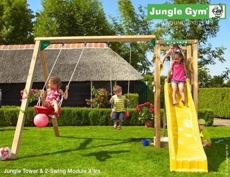 Hřiště Jungle Tower s houpačkami 2-Swing Module X´tra - kompletní sestava včetně skluzavky