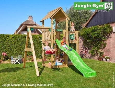 Hřiště Jungle Mansion s houpačkou 1-Swing Module - kompletní sestava včetně skluzavky