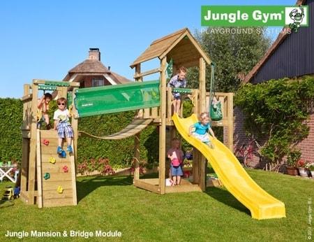 Hřiště Jungle Mansion s mostem Bridge Module - kompletní sestava včetně skluzavky