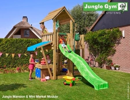 Hřiště Jungle Mansion s modulem Mini Market - kompletní sestava včetně skluzavky