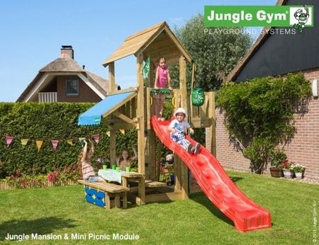 Hřiště Jungle Mansion s modulem Mini Picnic - kompletní sestava včetně skluzavky