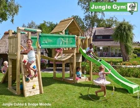Hřiště Jungle Cubby s modulem Bridge - kompletní sestava včetně skluzavky