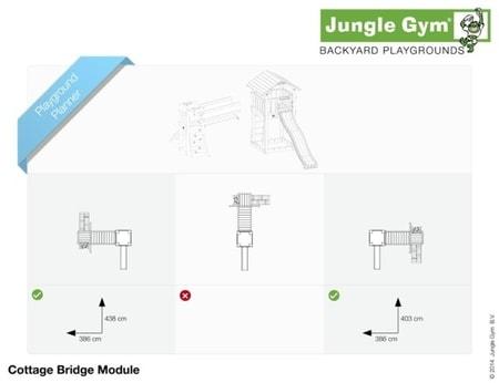 Hřiště Jungle Cottage s modulem Bridge - kompletní sestava včetně skluzavky