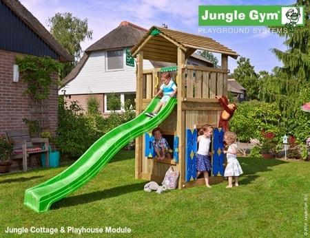 Hřiště Jungle Cottage s domečkem Playhouse - kompletní sestava včetně skluzavky