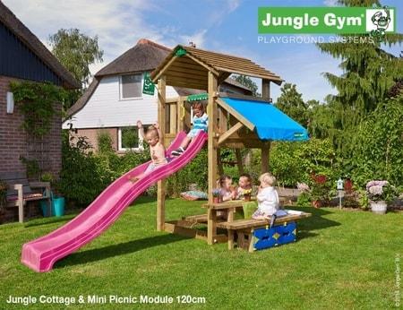 Hřiště Jungle Cottage s modulem Mini Picnic - kompletní sestava včetně skluzavky