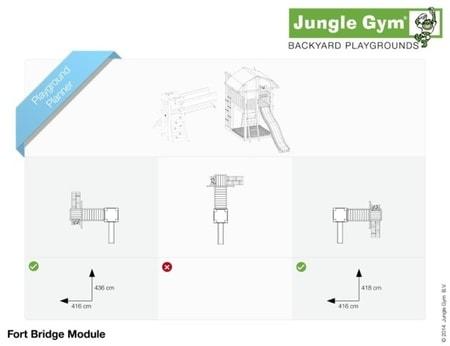Hřiště Jungle Fort s modulem Bridge - kompletní sestava včetně skluzavky