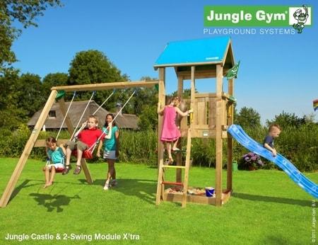 Hřiště Jungle Castle s houpačkami 2-Swing X´tra - kompletní sestava včetně skluzavky