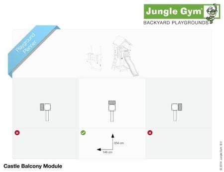 Hřiště Jungle Castle s modulem Balcony - kompletní sestava včetně skluzavky