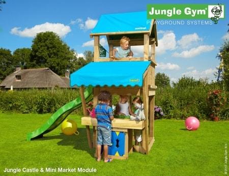 Hřiště Jungle Castle s modulem MiniMarket - kompletní sestava včetně skluzavky