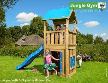 Hřiště Jungle Castle s domečkem Playhouse - kompletní sestava včetně skluzavky