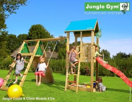 Hřiště Jungle Castle s modulem Climb X´tra - kompletní sestava včetně skluzavky