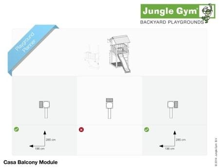 Hřiště Jungle Casa s modulem Balcony - kompletní sestava včetně skluzavky