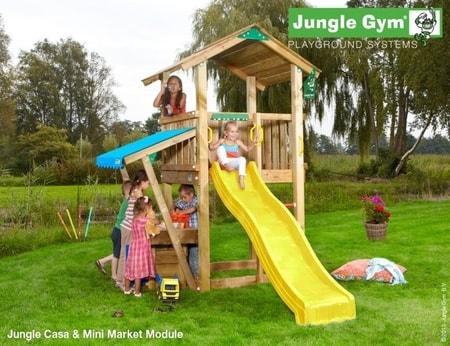 Hřiště Jungle Casa s modulem MiniMarket - kompletní sestava včetně skluzavky