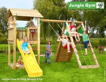 Hřiště Jungle Casa s modulem Climb X´tra - kompletní sestava včetně skluzavky