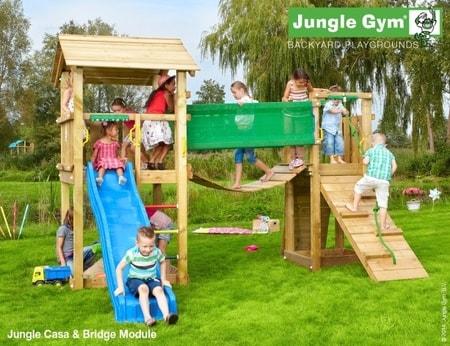 Hřiště Jungle Casa s modulem Bridge - kompletní sestava včetně skluzavky