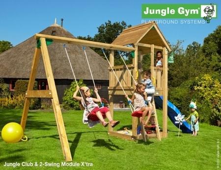 Hřiště Jungle Club s houpačkami 2-Swing X´tra - kompletní sestava včetně skluzavky
