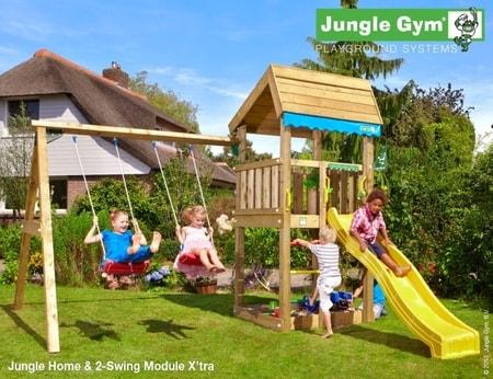 Hřiště Jungle Home s modulem 2-Swing X´tra - kompletní sestava včetně skluzavky
