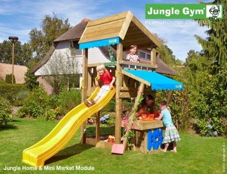 Hřiště Jungle Home s modulem MiniMarket - kompletní sestava včetně skluzavky