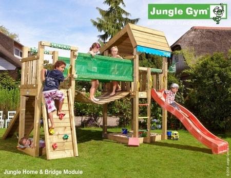 Hřiště Jungle Home s modulem Bridge - kompletní sestava včetně skluzavky