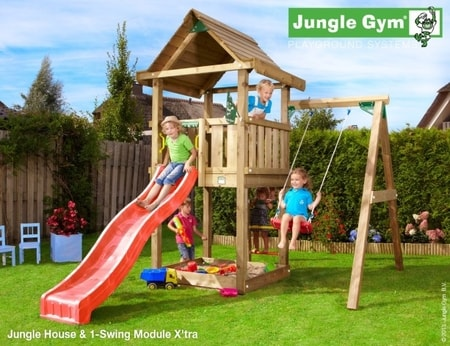 Hřiště Jungle House s houpačkou 1-Swing X´tra - kompletní sestava včetně skluzavky