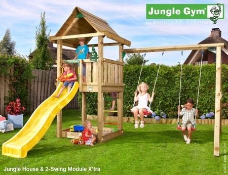 Hřiště Jungle House s houpačkami 2-Swing X´tra - kompletní sestava včetně skluzavky