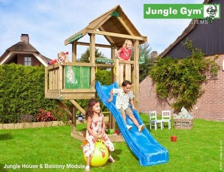 Hřiště Jungle House s modulem Balcony - kompletní sestava včetně skluzavky