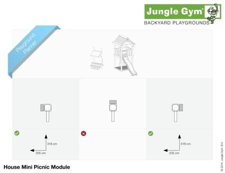 Hřiště Jungle House s modulem Mini Picnic - kompletní sestava včetně skluzavky