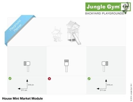 Hřiště Jungle House s modulem MiniMarket - kompletní sestava včetně skluzavky