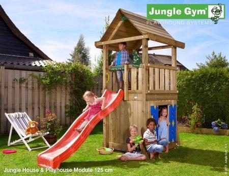 Hřiště Jungle House s modulem Playhouse - kompletní sestava včetně skluzavky