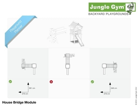 Hřiště Jungle House s modulem Bridge - kompletní sestava včetně skluzavky