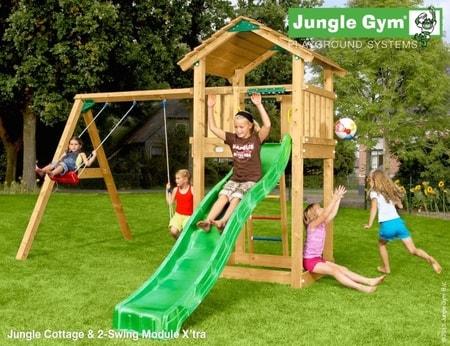 Hřiště Jungle Cottage s houpačkami 2-Swing X´tra - kompletní sestava včetně skluzavky