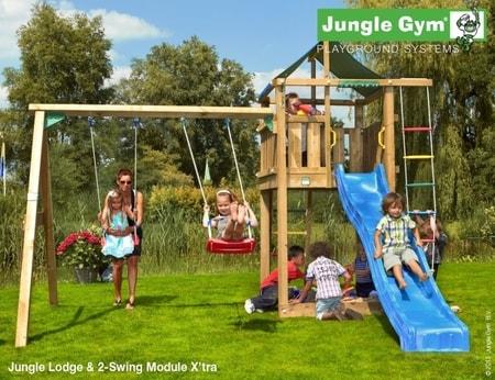 Hřiště Jungle Lodge s houpačkami 2-Swing X´tra - kompletní sestava včetně skluzavky