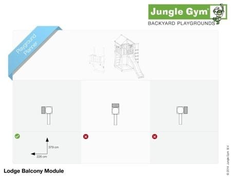Hřiště Jungle Lodge s modulem Balcony - kompletní sestava včetně skluzavky