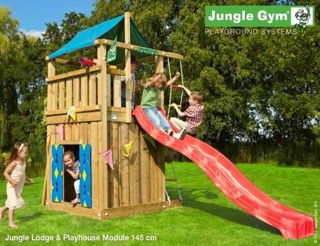 Hřiště Jungle Lodge s domečkem Playhouse - kompletní sestava včetně skluzavky