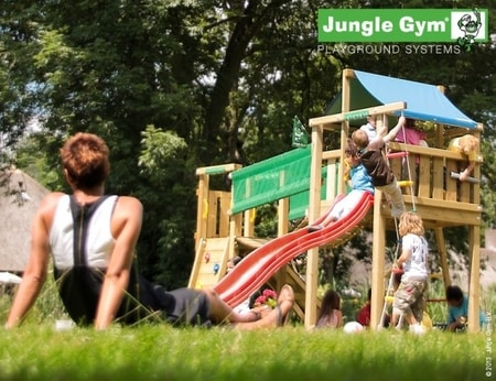 Hřiště Jungle Lodge s modulem Climb X´tra - kompletní sestava včetně skluzavky